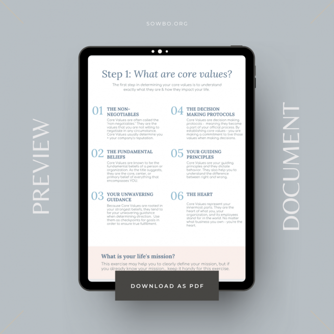 10 Step Guide to Defining Core Values | Business Printable | Core Value Worksheet PDF | Business Planning | Core Value Planner Example Page Values Purpose