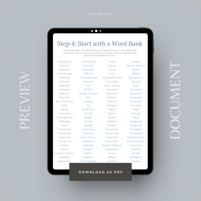 10 Step Guide to Defining Core Values | Business Printable | Core Value Worksheet PDF | Business Planning | Core Value Planner Example Page Word Bank